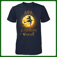 Aida Loves Being Witchy. Halloween Gift - Unisex Tshirt Navy L - Holiday and seasonal shirts (*Amazon Partner-Link)
