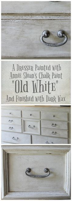Old White for a New Look A dresser painted with Annie Sloan s chalk paint Old . Old White for a New Look A dresser painted with Annie Sloan s chalk paint Old White A mix of dar Annie Sloan Painted Furniture, Painted Bedroom Furniture, Annie Sloan Paints, Dark Furniture, Colorful Furniture, Vintage Furniture, Furniture Ideas, Chalk Paint Colors Furniture, Painting Furniture White
