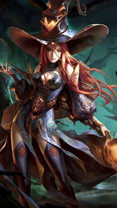 f Witch Warlock Leather Armor Cloak Hat Belt Staff rough scrub forest Fantasy women lg Fantasy Witch, Fantasy Girl, Fantasy Art Women, 3d Fantasy, Witch Art, Anime Fantasy, Dark Fantasy, Witch Characters, Fantasy Characters