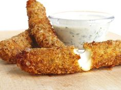 Homemade mozarella sticks. use low-fat string cheese and bake them instead of frying.