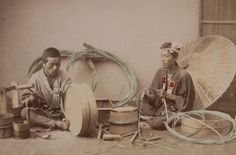 Tub maker. Hand colored photographs capture Japanese life during the Meiji Period, 1890, taken by Japanese photographer, Kusakabe Kimbei.