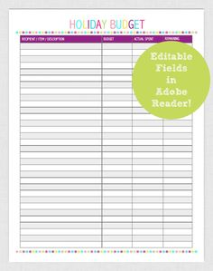 EDITABLE Budget Christmas Holiday Printable Planner Page pdf INSTANT DOWNLOAD- diy/Customize Editable in Adobe Reader