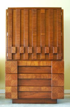 Mid Century LANE Brutalist Cubist Highboy/Armoire. Paul Evans Inspired.  Stunning. Rare on Etsy, $1,295.00