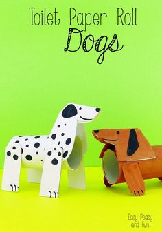 Toilet Paper Roll Dogs - Crafts With Toilet Paper Rolls with Your Kids #artsandcraftsforkidswithpaper,