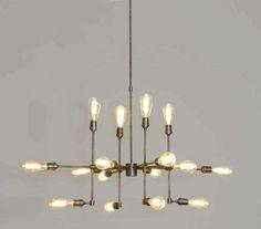 "Statement Modern Industrial Rustic Brass Chandelier Ceiling Light Fixture  16 bulb. 34"" x 16"""