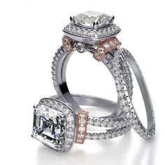 love the touch of rose Halo Split Shank Shoulder Pave Diamond Engagement Ring
