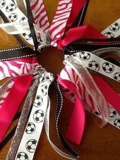 Hot Pink, White Zebra Soccer Hair Bow, Choose Team Colors, Girls Soccer Hair Bows via Etsy Softball Hair Bows, Cheerleading Hair Bows, Cheer Bows, Making Hair Bows, Diy Hair Bows, Bow Making, Soccer Crafts, Barrettes, Hairbows