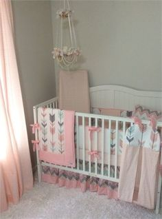 Baby girl complete nursery bedding set in pink gray mint arrows and chevron