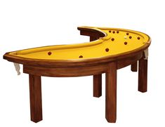 wacky-thoughts:    Banana Pool Table by Cleon Daniel  Exploring themes of life and environment in a rather tongue-in-cheek manner, designer cléon daniel manages to explore arguably familiar territory with a banana-shaped billiard table. Completed with the help of a retired carpenter, the 'banana pool table' incorporates a yellow felt wrap and a hardwood frame with four pockets instead of six.