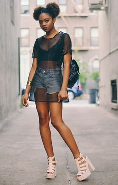 ecstasymodels:  How to Be Naked in Summer CNDirect Sheer Top|Missguided Bralet(similar)|Vintage Gap Shorts(similar)|Missguided Heels(similar)Forever21 Cuff(similar)Vintage BackpackNeon Fox