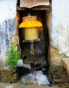 Water driven prayer wheel . Drepung monastery . Tibet