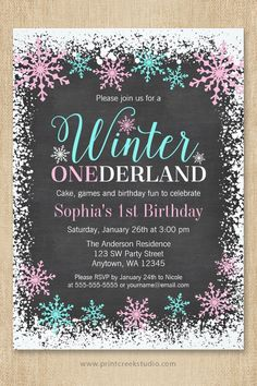 Cute Winter ONEderland invitation for a girl 1st birthday party. Sweet pastel pink and teal blue snowflakes, white snow border and whimsical script font on a chalkboard background. 1st Birthday Party Invitations, 1st Birthday Gifts, Pink Birthday, Card Birthday, Birthday Ideas, Happy Birthday, Teen Gifts, Girl Gifts, Simple First Birthday