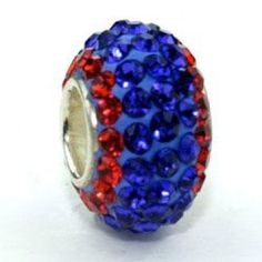 This is a 925 Silver and Swarovski Sapphire Blue with Orange Edges Crystal Ring Bead. All of our beads are interchangeable with Pandora, Biagi, Chamillia, Zable, Troll, Brighton and many other European bracelets.