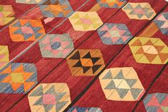 This handwoven kilim rug carpet is coming from Nomadic areas of Turkey. The kilim rug is made of finest wool on cotton fringe
