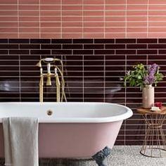 Ashley Mahlberg (@inkreel) • Instagram photos and videos Bathroom Trends, Diy Bathroom Decor, Room Wall Decor, Bathroom Colors, Bold Wallpaper, Textured Wallpaper, Pink Tiles, Best Paint Colors, Feature Tiles