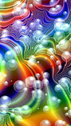 Bubbles and rainbow colors Art Fractal, Fractal Design, Fractal Images, World Of Color, Color Of Life, Rainbow Art, Rainbow Colors, Rainbow Bubbles, Colored Bubbles