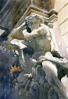 Colossus scupture / Grzegorz Wróbel-watercolor