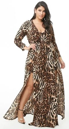 Plus Size Leopard Maxi Dress Fashion Now, Curvy Fashion, Plus Size Fashion, Fashion Outfits, Plus Size Dresses, Plus Size Outfits, Max Dresses, Dresser, Top Clothing Brands