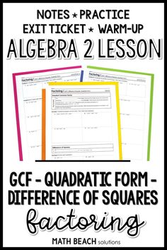 Students will factor cubic and quartic polynomials using quadratic form, difference of squares, and factoring out a GCF in this ready-to-print lesson. It includes notes, practice, warm-up and exit ticket! Synthetic Division, Algebra 2 Worksheets, Greatest Common Factors, Lesson Plans, Teaching, How To Plan, Math, Ticket, School Stuff