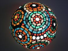 Blue mosaic lace  glass mosaic table lamp home decor one by mooz, $120.00