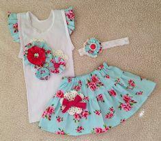 Embellished singlet and skirt set. Handmade by Rosie Cheeks.