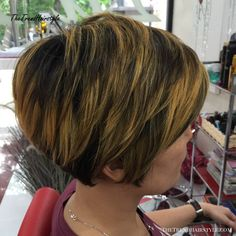 Tapered Pixie Bob With Highlights If you should be looking for hairstyles that will cause Short Hairstyles For Thick Hair, Haircut For Thick Hair, Pixie Hairstyles, Short Hair Cuts, Short Hair Styles, Modern Hairstyles, Pixie Haircuts, Wavy Hair, Short Stacked Hair