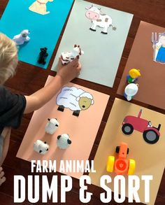 Easy Farm Animal Dump and Sort for Toddlers - Toddler Approved!: Easy Farm Animal Dump and Sort for Toddlers - Farm Activities, Animal Activities, Language Activities, Infant Activities, Farm Animals Preschool, Farm Animal Crafts, The Farm, Montessori, Farm Lessons
