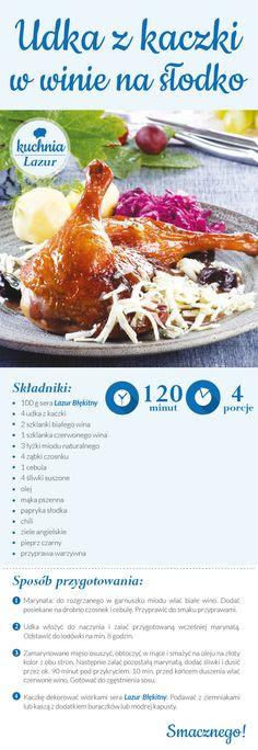 Udka z kaczki w winie na słodko /kurczak /wino /Lazur /ser pleśniowy /rokpol /przepisy /kuchnia lazur Chili, Food And Drink, Recipes, Chile, Recipies, Ripped Recipes, Chilis, Cooking Recipes