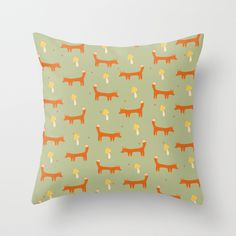 Little Fox (with mushroom) pattern Throw Pillow by Strawberringo | Society6 #art  #design #awesome #print  #poster  #color  #cool  #gift  #gift #ideas  #hipster  #funny  #Illustration  #threadless  #drawing  #girls  #beautiful #humor
