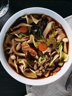 Wild Mushroom Noodle Soup. A surprisingly easy dried porcini broth plus a mix of fresh wild mushrooms gives this soup its rich flavor and stunning look.