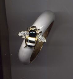 Kenneth Lane White Black Enamel Bee Bracelet