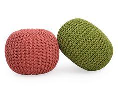 Pouf in cotone tricot verde, d 55 cm