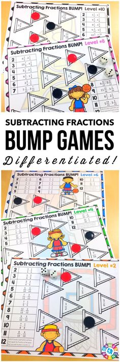 """""""LOVE this! The various difficulty levels made it easy for me to differentiate my lesson!""""  This Subtracting Fractions Bump Games Pack contains 10 games to help students practice subtracting fractions and mixed numbers with like and unlike denominators.  This means that every student can practice at the level they need!"""