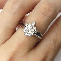 Round & Marquise White Sapphire Ring 14K Gold Crown Wedding #sapphireringsvintage
