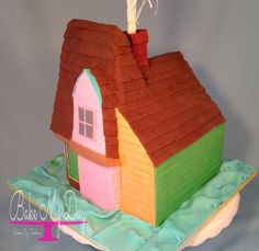 3D house from Pixars UP cake, complete with balloons. House is 100% edible