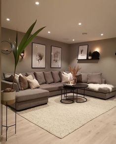 Classy Living Room, Living Room Kitchen, Home Living Room, Apartment Living, Living Room And Kitchen Together, Cozy Living, Can Lights Living Room, Living Room Decor For Apartments, Living Room Recessed Lighting