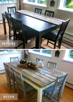 Turn a so-so table set into beautiful farmhouse style with come old wood and paint! Love the color of those chairs. Though I would try to fill in the gaps on the table so crumbs don't get caught in there so badly.