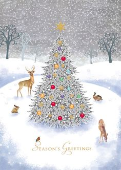 View our adorable animal Christmas cards, with many wildlife scenes. Christmas Scenes, Noel Christmas, Vintage Christmas Cards, Christmas Countdown, Vintage Holiday, Christmas Pictures, Christmas Greetings, Winter Christmas, Christmas Crafts