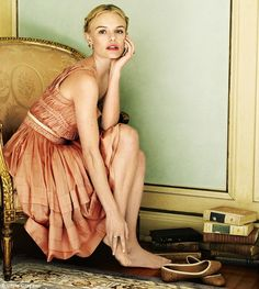 Impressive wardrobe: Miss Bosworth is seen wearing cotton creations by Prada and (pictured) Nina Ricci