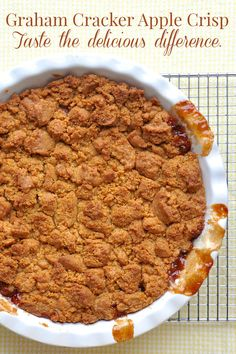 Easy Deep Dish Graham Cracker Apple Crisp - This is one of the best apple crisp recipes I have ever tried and it's because of a unique ingredient in the crumb topping.