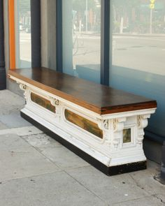 Large General Store Counter With Painted Folk Art Panels