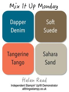 Mix It Up Mondays - Blooms and Wishes. Stampin' Up colors: Dapper Denim, Tangerine Tango, Soft Suede, and Sahara Sand