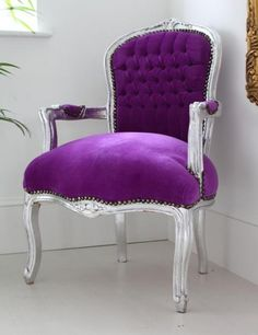 Purple Louis Armchair with Silver Frame by Out There Interiors