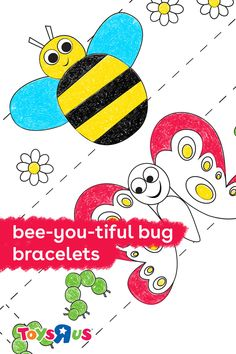 Coloring is always fun for children and when the end result is wearable jewelry, it's even better. Create these bug bracelets and watch your kiddo fly around the house like a very fashionable little bug! #coloringtime #printablefun #makeabracelet #bugbracelet #activitiesforkids #coloringfun #coloringforkids #toddleractivites #toddlercrafts #kindercrafts #kindergartencrafts #butterfly #butterflies #bees