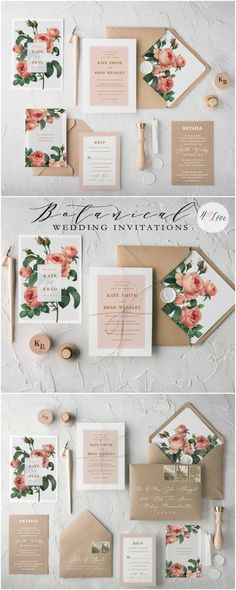 The Ethereal wedding invitation suite combines beautiful botanical printing with eco kraft papers and romantic calligraphy. Muted tones and soft colour palettes complete the design. Fully assembled wedding invitations from $4,80  #wedding