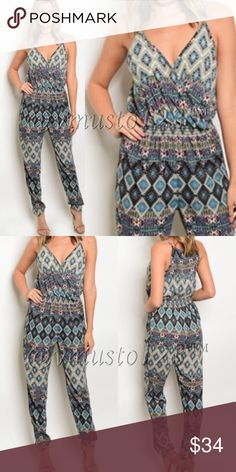 ‼️LAST 1 SZ S- Jogger style teal jumpsuit Gorgeous teal, mauve and blue spaghetti strap with plunging neckline printed jogger style jumpsuit. Perfect for Spring and so flattering! Made of 100% polyester so won't shrink, won't wrinkle and perfectly lightweight. S(2-4) M(6-8) L(10-12) Price is absolutely firm unless bundled. Feel free to ask questions or measurements. ValMarie Boutique Pants Jumpsuits & Rompers