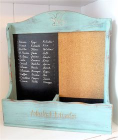Large Shabby Chic NOTICE MEMO with Pin Chalk Board in Antique