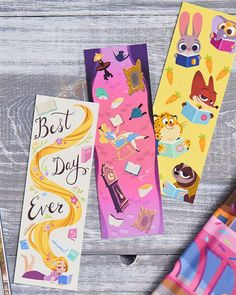 Disney Lesezeichen von Rapunzel, Alice im Wunderland und Zoomania Encourage your little ones to get excited about reading with this assortment of printable Disney bookmarks! Disney Bookmarks, Creative Bookmarks, Free Printable Bookmarks, Printable Book Marks, Diy Marque Page, Deco Disney, Diy And Crafts, Crafts For Kids, Easy Crafts