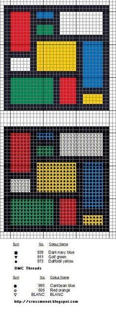 Cross me not: Mondrian-inspired - free cross stitch pattern Cross Stitch Charts, Cross Stitch Designs, Cross Stitch Patterns, Cross Stitching, Cross Stitch Embroidery, Embroidery Patterns, Mondrian, Tapestry Crochet, Needlepoint