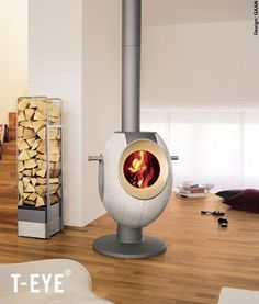 The T-Eye is a funky contemporary wood stove from Tonwerk with plenty of original character. You will bask both in the warmth of the contemporary stove,